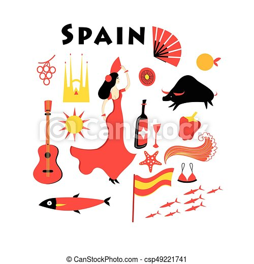 Vector set of elements to the theme of Spain - csp49221741