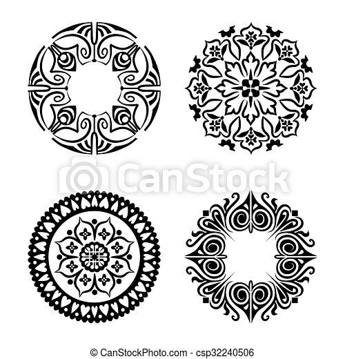 Vector set of ethnic ornamental circles - csp32240506