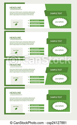 Vector set of facebook timeline green covers.
