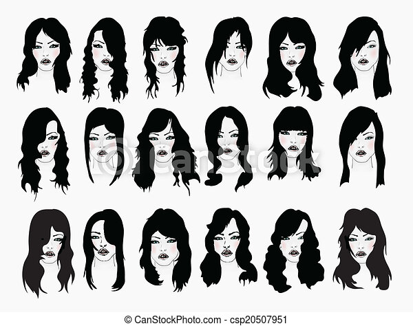 Line Drawing Of Female Face : Vector set of female hair styles with beautiful face clipart