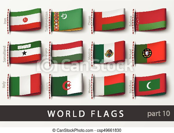 Vector set of flag labels - csp49661830