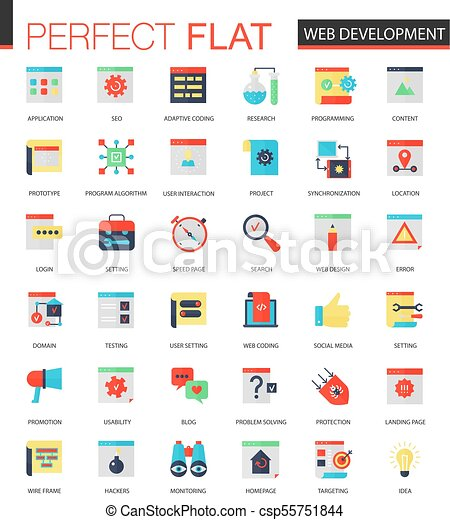 Vector set of flat Web development icons. - csp55751844