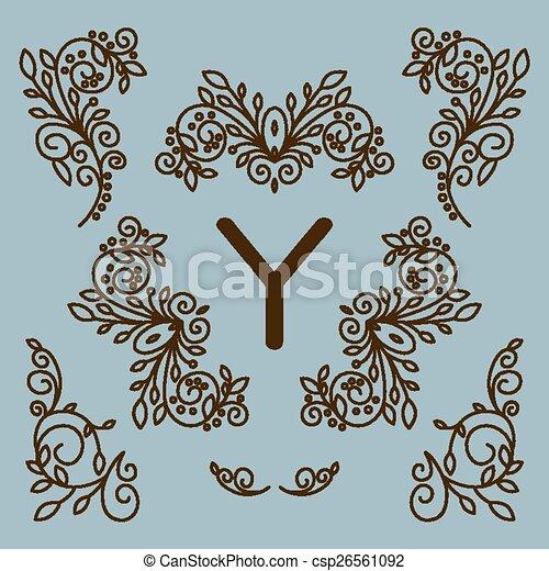 Vector set of floral line design elements for logos - csp26561092