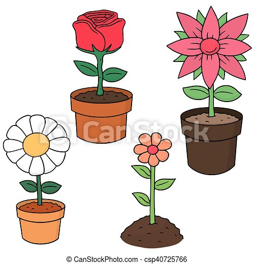 vector set of flower - csp40725766