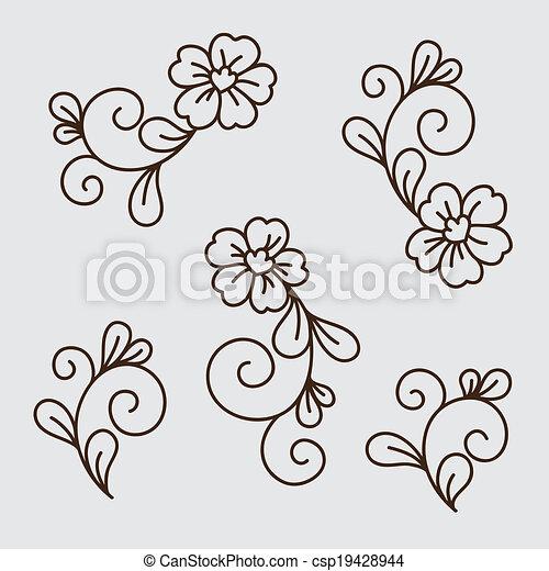 Vector set of flower elements - csp19428944
