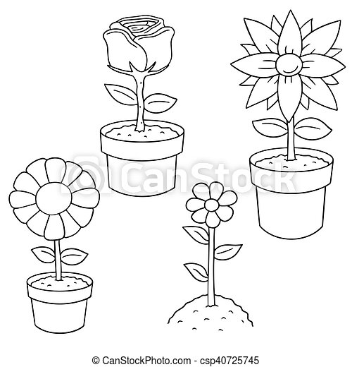 vector set of flower - csp40725745