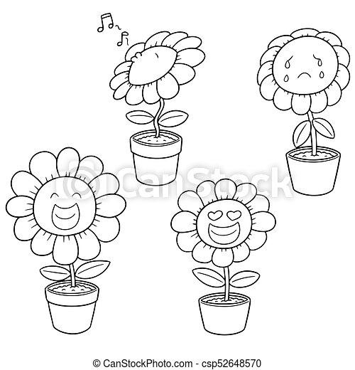 vector set of flower - csp52648570