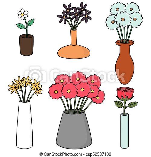 Vector Set Of Flower Vase