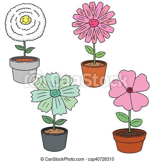 vector set of flower - csp40726310