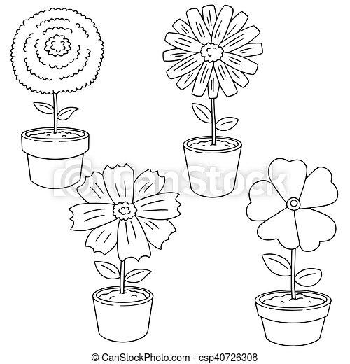 vector set of flower - csp40726308