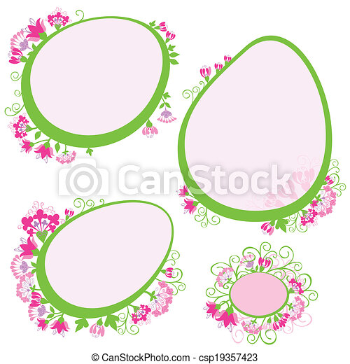 vector set of frames with flowers - csp19357423