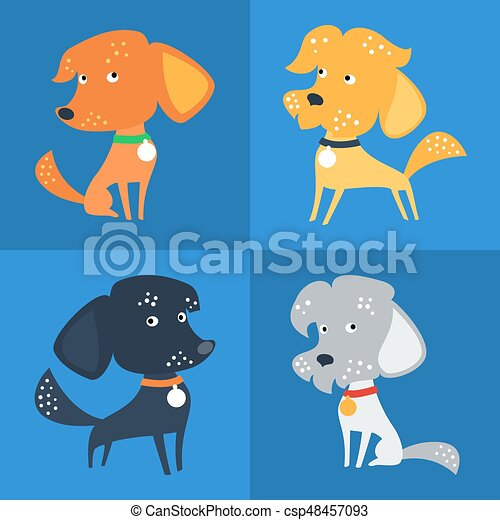 Vector Set of funny Mixed breed or mongrel dog - csp48457093