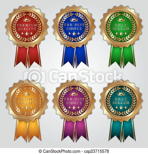 Vector set of golden badges with color ribbons and best choice, premium quality, bestseller text - csp23715578