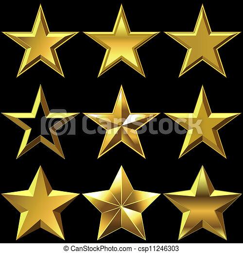 Vector set of golden shiny stars bulk - csp11246303