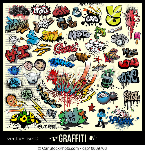 vector set of graffiti elements  - csp10809768
