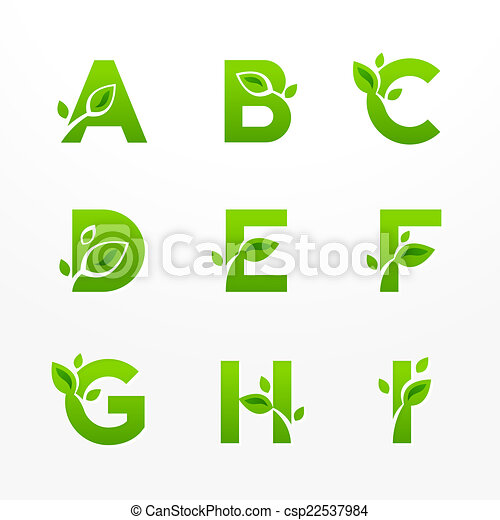 Vector set of green eco letters logo with leaves. Ecological fon - csp22537984