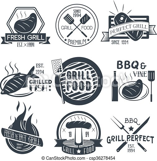 Vector set of grill and bbq labels in vintage style. Design elements, icons, logo, emblems, badges isolated on white background. - csp36278454