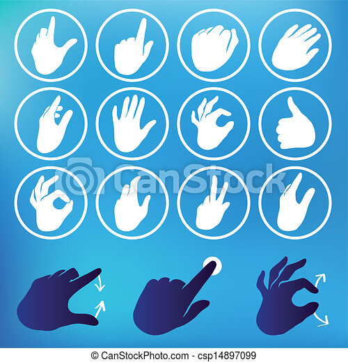 Vector set of hand icons - csp14897099
