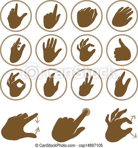 Vector set of hand icons - csp14897105