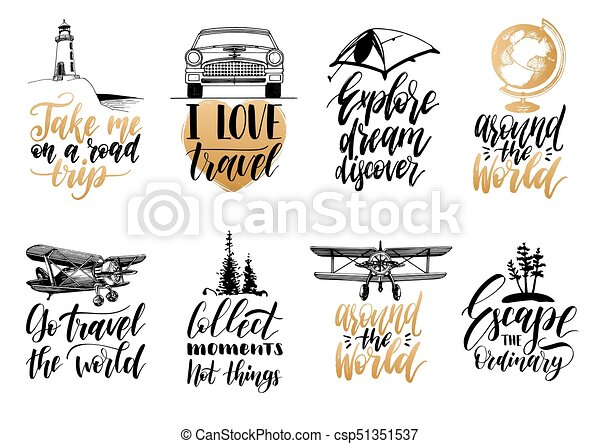 Vector set of hand lettering with phrases about traveling and vector set of hand lettering with phrases about traveling and sketches of touristic symbols illustrated inspirational quotes collection for journeys altavistaventures Choice Image