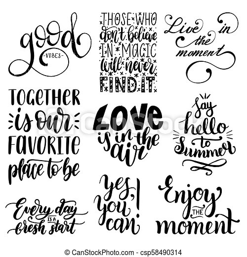 Vector Set Of Hand Lettering With Motivational Phrasescalligraphy Cool Inspirational Phrases