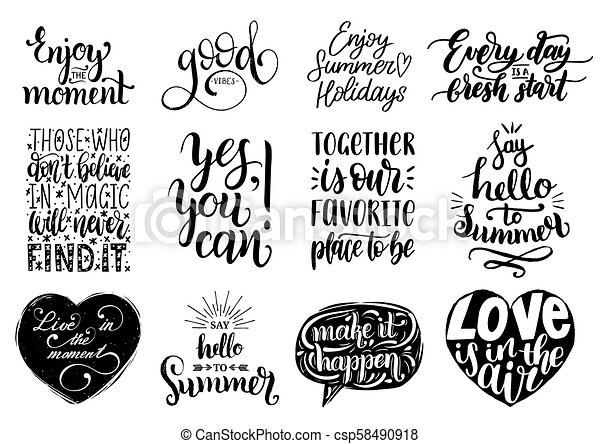 Vector Set Of Hand Lettering With Motivational Phrasescalligraphy Impressive Inspirational Phrases