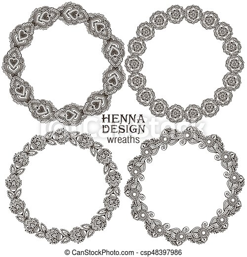 Vector set of henna floral frames - csp48397986