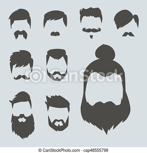 Vector Set Of Hipster Retro Hair Style Mustache Vintage Old Shave
