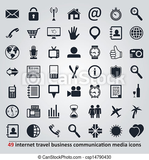 vector set of icons for internet, travel, business, communication and media - csp14790430