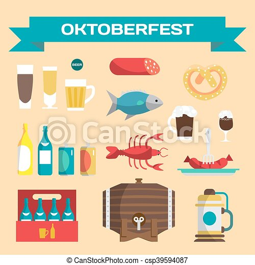 Vector set of icons in a flat cartoon style for Oktoberfest. Food, drink, beer, mug, cancer, dried fish, sausage - csp39594087