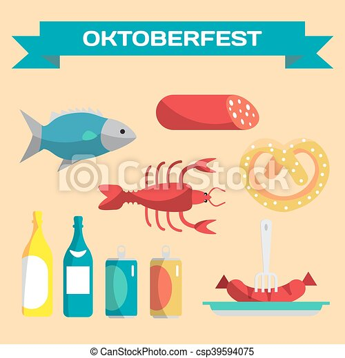 Vector set of icons in a flat cartoon style for Oktoberfest. Food, drink, cancer, dried fish, sausage - csp39594075