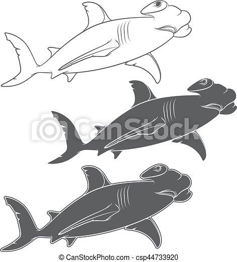 Vector set of illustrations depicting the hammer shark - csp44733920