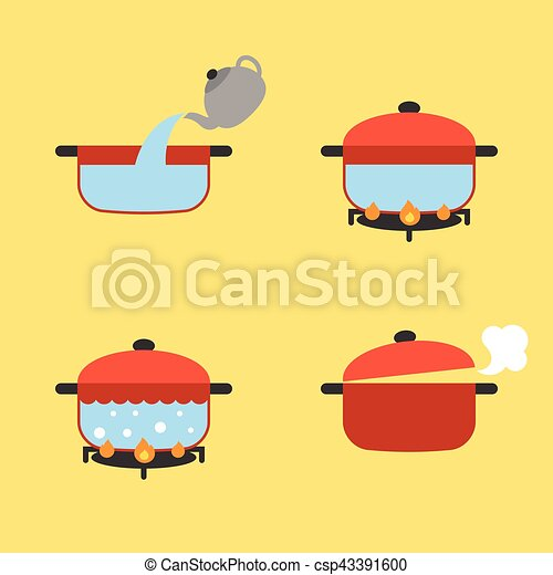 Vector set of info graphic boiling water in pot on fire, flat design - csp43391600