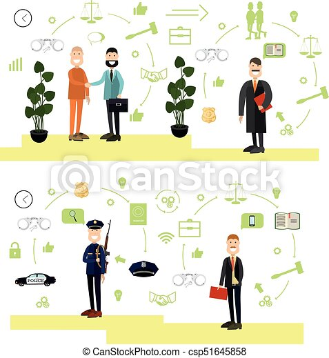 Vector Set Of Law Court People Symbols Icons In Flat Style Vector