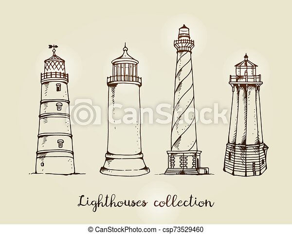 Vector set of lighthouses - csp73529460