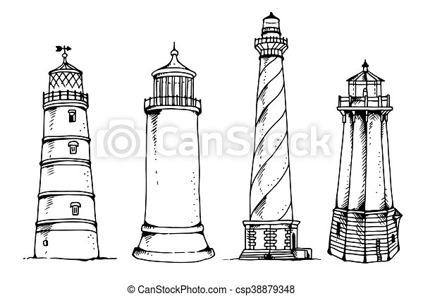 Vector set of lighthouses - csp38879348