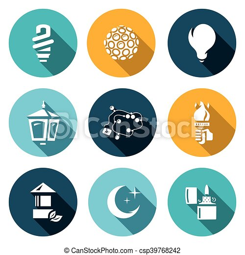 Vector Set Of Lighting Icons. Powersave Lamp, Lumiere, Incandescent, Street  Light, Garland, Torch,
