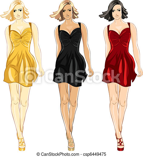 Vector set of Little Dress black, red and gold colors - csp6449475