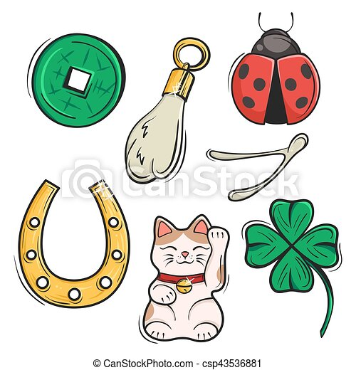 Vector Set Of Lucky Charms Symbols And Talismans Vector