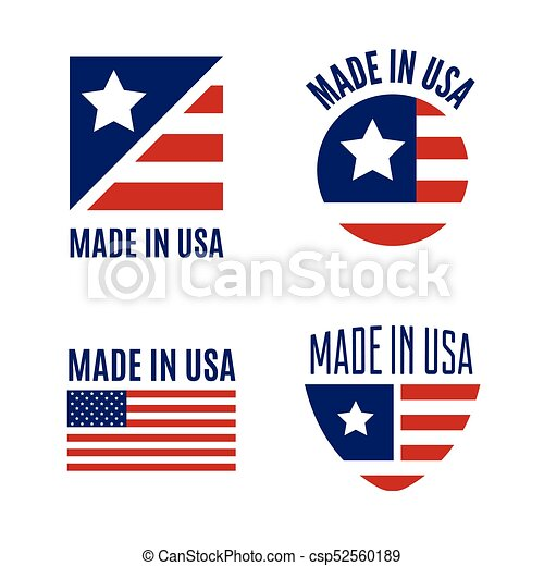 Vector Set Of Made In The Usa Logo Labels And Badges On Vector