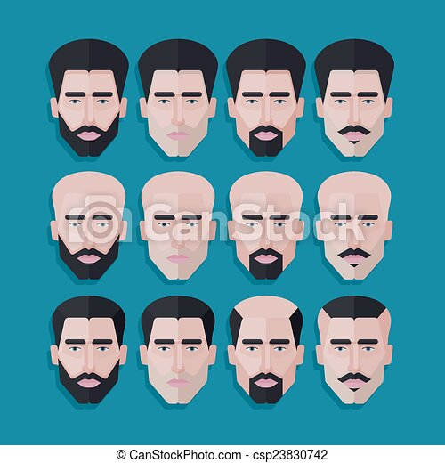 vector set of male faces in flat polygonal style. men hair eps