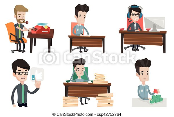 Vector set of media people characters. - csp42752764