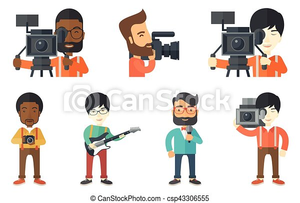 Vector set of media people characters. - csp43306555