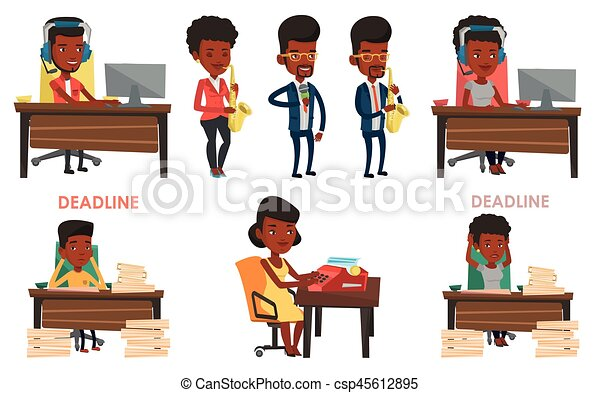Vector set of media people characters. - csp45612895