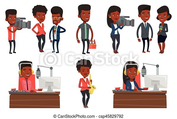 Vector set of media people characters. - csp45829792