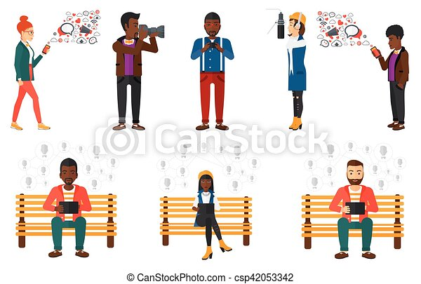 Vector set of media people characters. - csp42053342