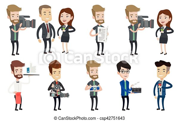 Vector set of media people characters. - csp42751643