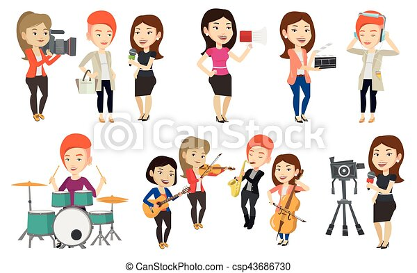 Vector set of media people characters. - csp43686730