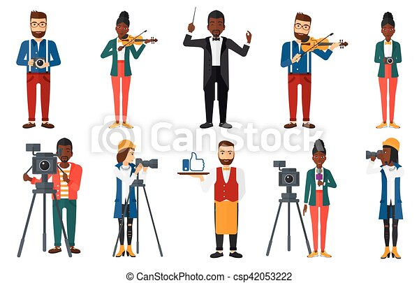 Vector set of media people characters. - csp42053222