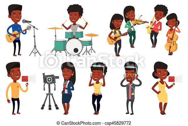 Vector set of media people characters. - csp45829772